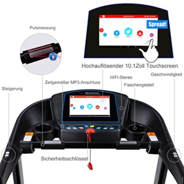 Fitifito FT880 Profi Laufband 7,5PS 22km/h mit 10,1 Zoll Touchscreen Android WiFi App 22 Trainingsmodulen inkl. HRC - 3