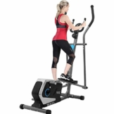 ISE Crosstrainer Elliptical Crosstrainer Ellipsentrainer Heimtrainer Ergometer Stepper Heimtrainer Magnetbremse Ausdauertrainer mit 15kg Schwungmasse - 8 Widerstandsstufen SY-9801 - 1