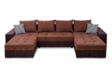 Collection AB Jockey XL Wohnlandschaft mit Bettfunktion und Bettkasten Ecksofa, Stoff, Braun, 161 x 311 x 84 cm - 1