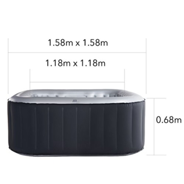 Whirlpool MSpa aufblasbar für 4 Personen 158x158cm In-Outdoor Pool 108 Massagedüsen Timer Heizung Aufblasfunktion per Knopfdruck Bubble Spa Wellness Massage - 2